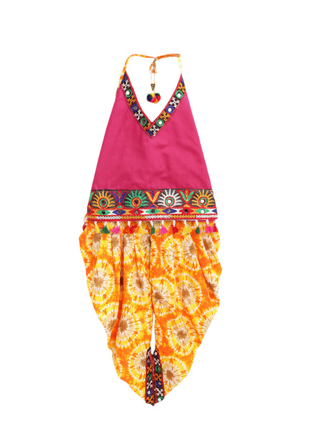Shibori print dhoti with embroidered top - Pink