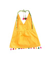 Shibori print dhoti with embroidered top - Yellow