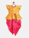 Ethnic Doll Jacquard Dhoti Peplum Top- Yellow - BownBee - Creating Special Moments