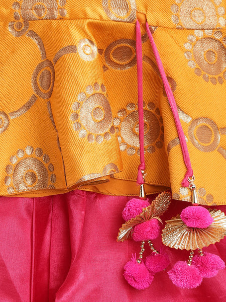 Ethnic Doll Jacquard Dhoti Peplum Top- Yellow