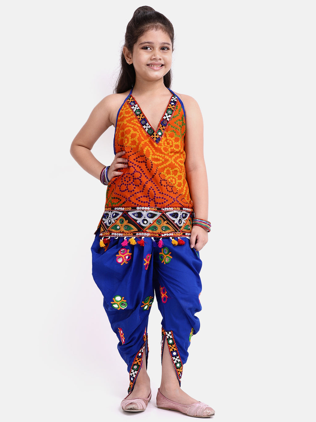 Bandhani Halter Top With Embroidery Dhoti- Blue