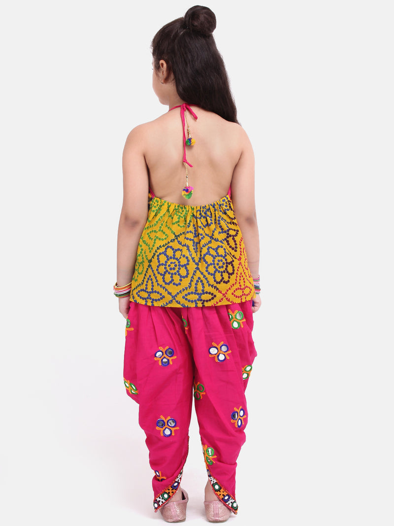 Bandhani Halter Top With Embroidery Dhoti- Pink
