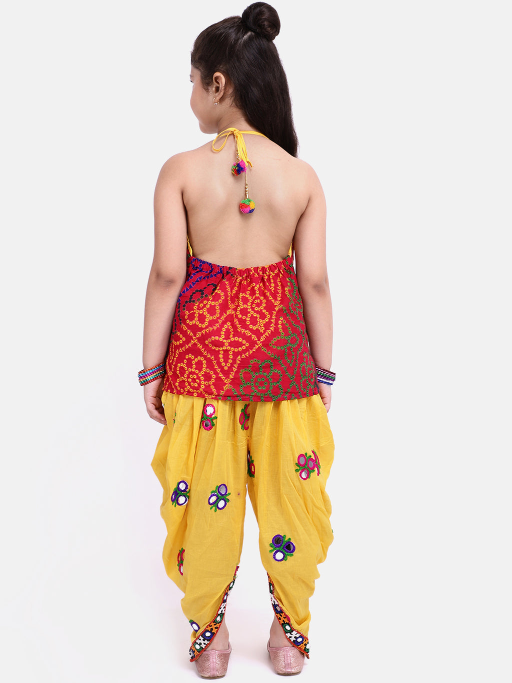 Bandhani Halter Top With Embroidery Dhoti- Yellow