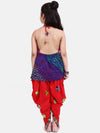 Bandhani Halter Top With Embroidery Dhoti- Red