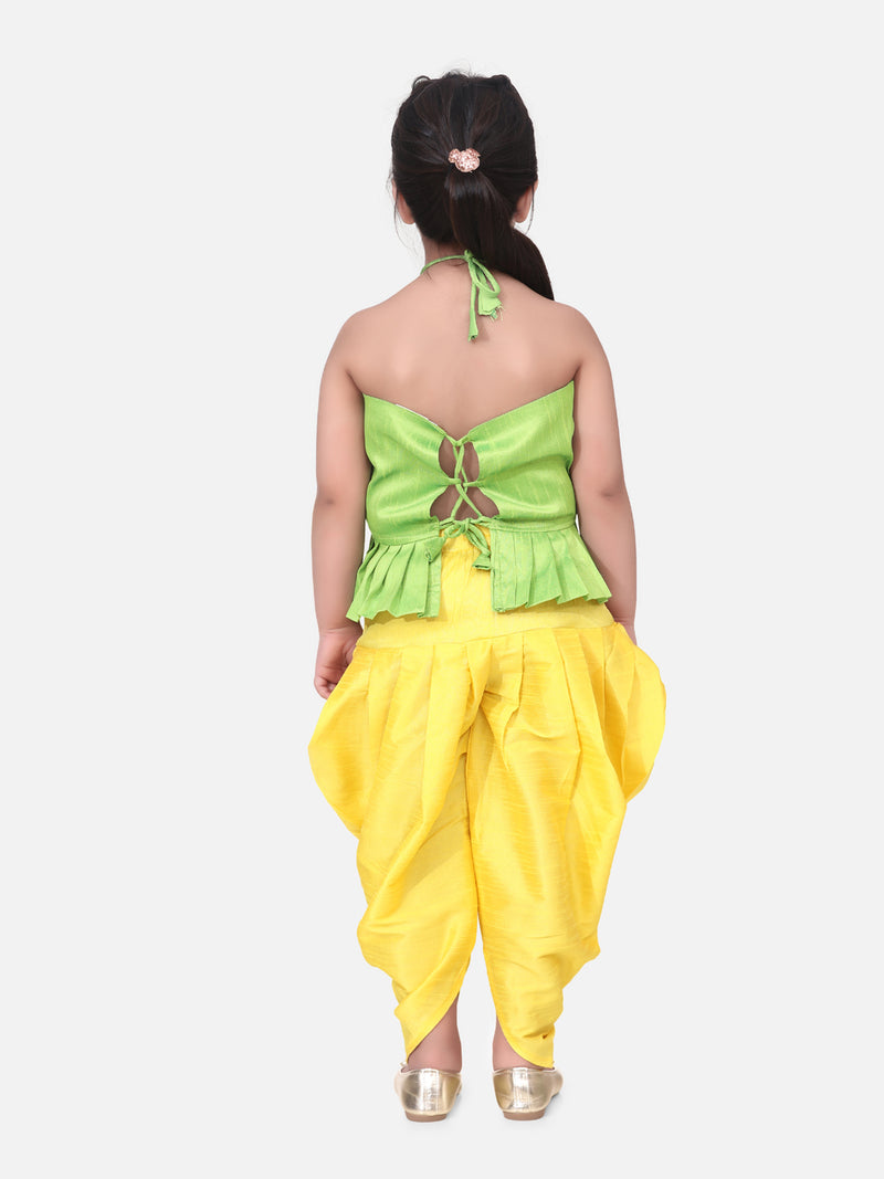 Flower Embroidered Sleeveless Top With Dhoti -Green