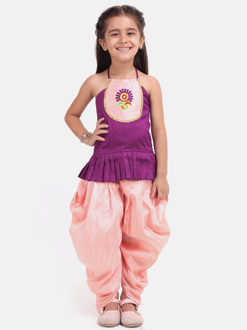 Flower Embroidered Sleeveless Top With Dhoti - Purple
