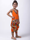 BownBee Girls Shibori Embroidered Top Dhoti Set