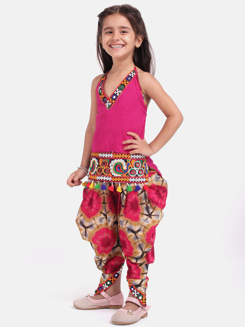 BownBee Girls Shibori Embroidered Top Dhoti Set - BownBee - Creating Special Moments