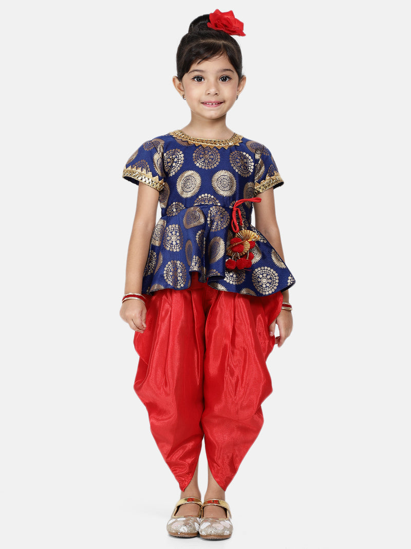Jacquard Peplum Dhoti Set For Baby Girl-