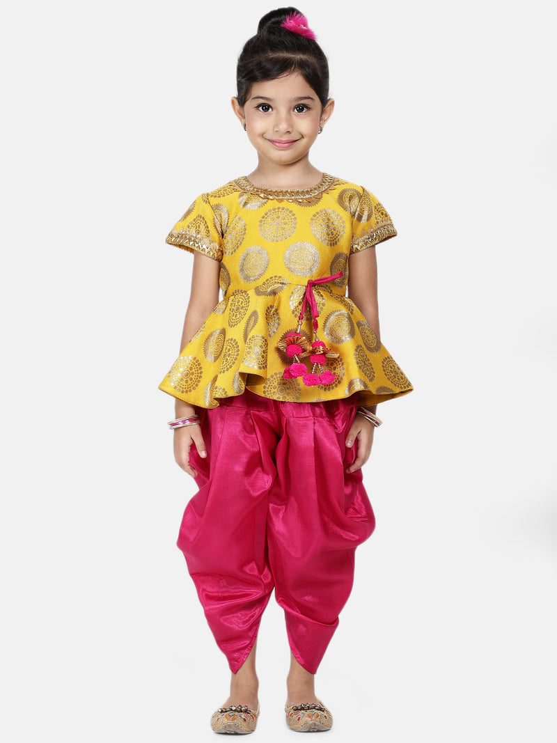 Jacquard Peplum Dhoti Set For Baby Girl