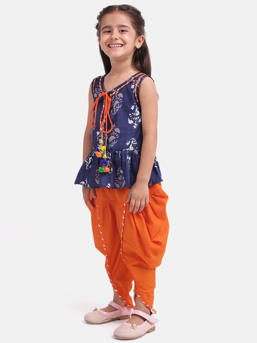 Jaipuri Print Pure Cotton Dhoti Top For Baby Girls-Indigo