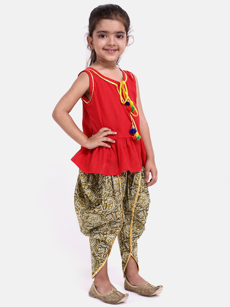 Jaipuri Print Pure Cotton Dhoti Top For Baby Girls-Red