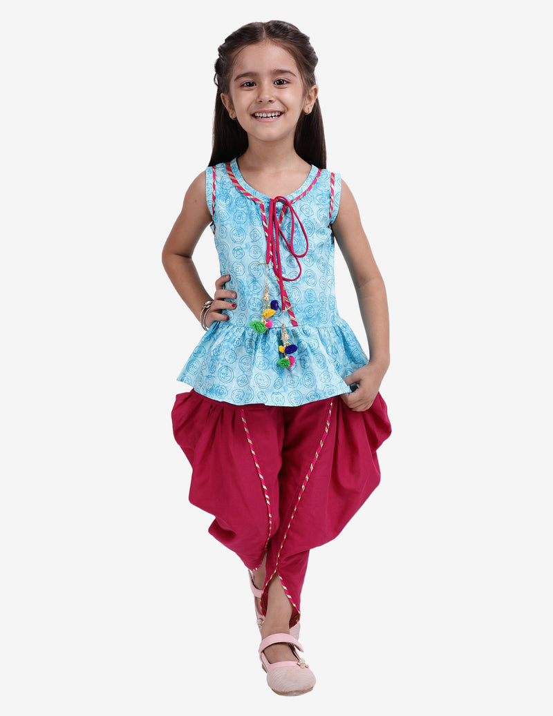 Jaipuri Print Pure Cotton Dhoti Top For Baby Girls-Sky Blue