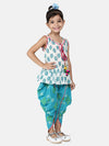 Jaipuri Print Pure Cotton Dhoti Top For Baby Girls-White