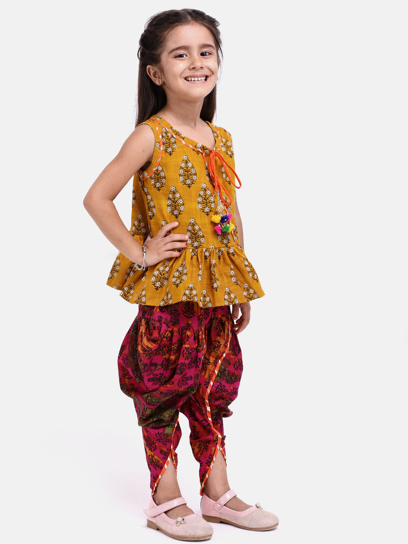 Jaipuri Print Pure Cotton Dhoti Top For Baby Girls-Yellow