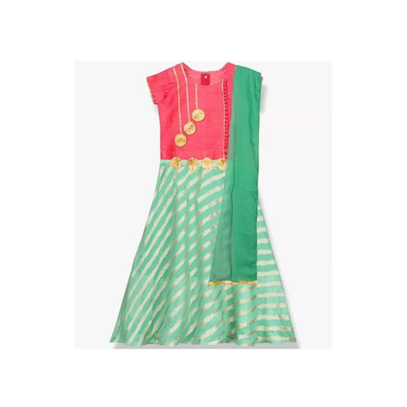 Lehriya Lehnga Choli Ethnic wear for Girls - Pink & Green