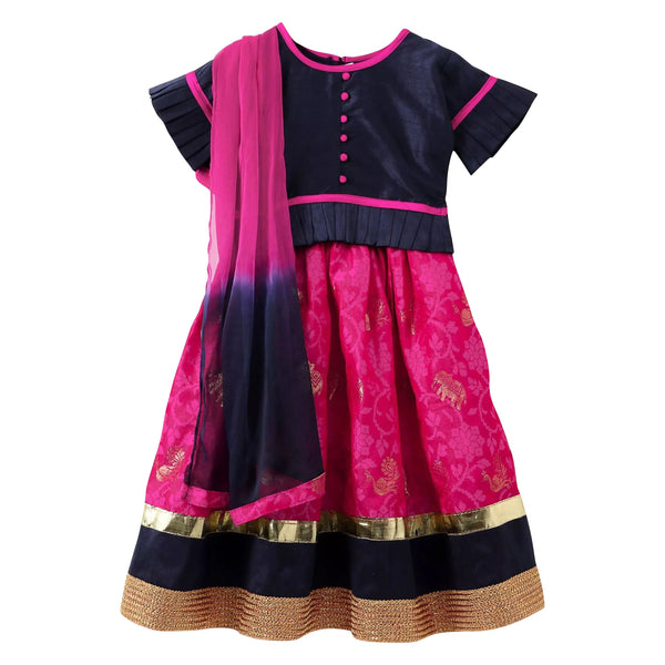 Royal Touch Brocade Lehnga Choli For Girls - Blue