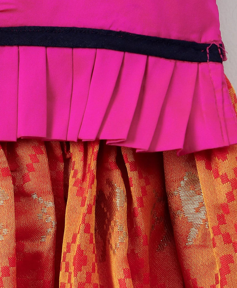 Royal Touch Brocade Lehnga Choli For Girls - Pink