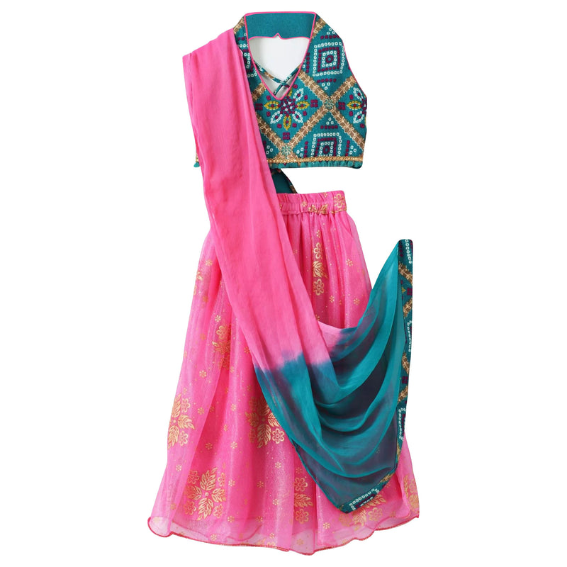 Bandhni Halterneck Choli Rubber Print Lehnga - Green - BownBee - Creating Special Moments