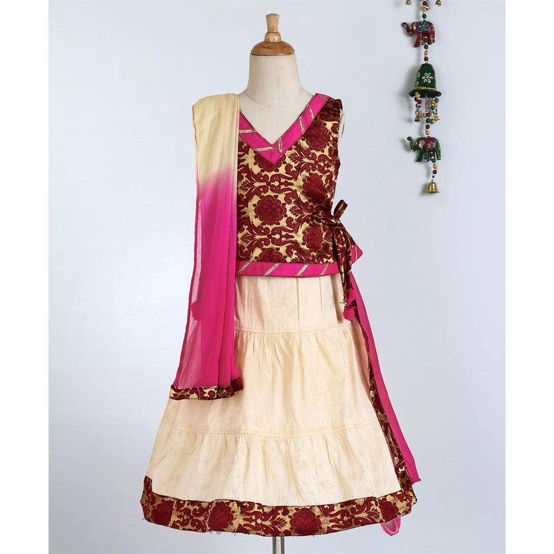 Bownbee Jaquard Flared Top Lehnga choli - Maroon - BownBee - Creating Special Moments