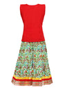Jaipuri print cambric cotton skirt top - Red & Green