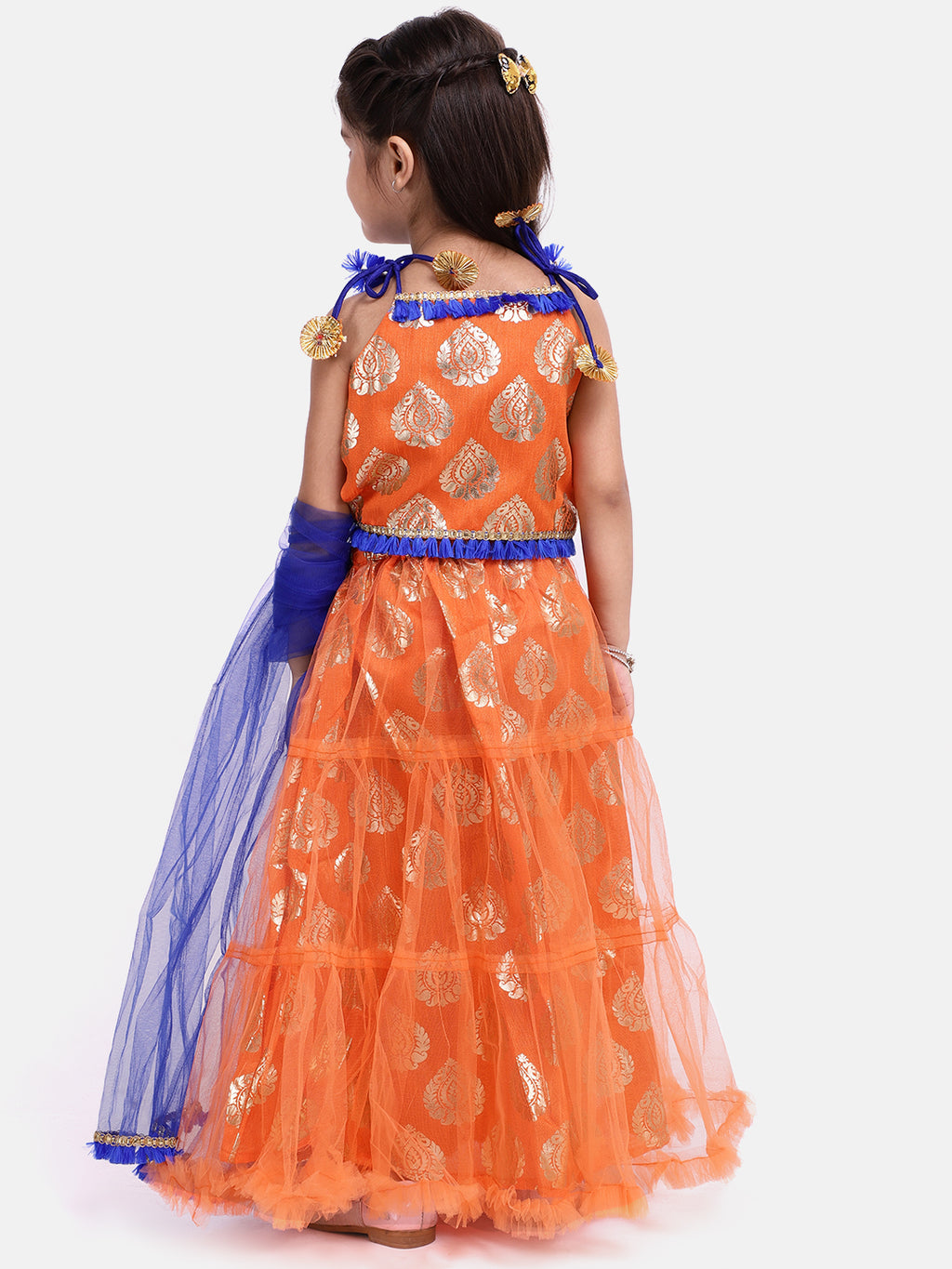 Foil Print Net Lahenga Choli - Orange