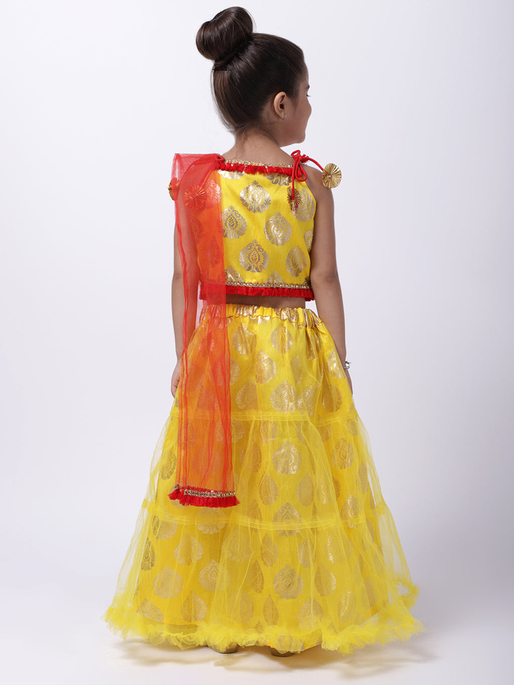 Foil Print Net Lahenga Choli - Yellow