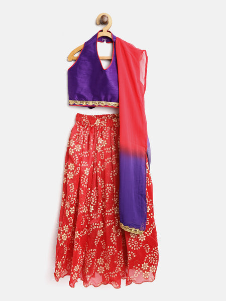 Rubber Print Halter Neck Lehenga Choli - Purple & Red