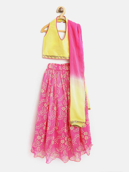 Rubber Print Halter Neck Lehenga Choli - Yellow & Pink