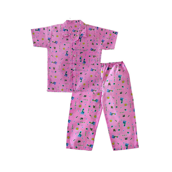Zoo Safari Night Suit For Boys  - - Pink