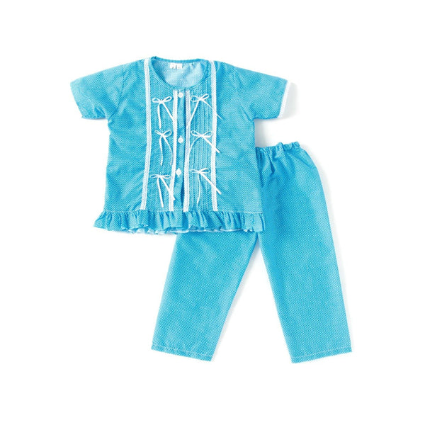 Bownbee Cotton Night Suit For Girls -  Blue