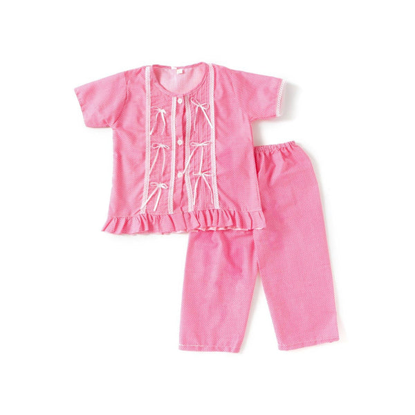 Bownbee Cotton Night Suit For Girls - Pink