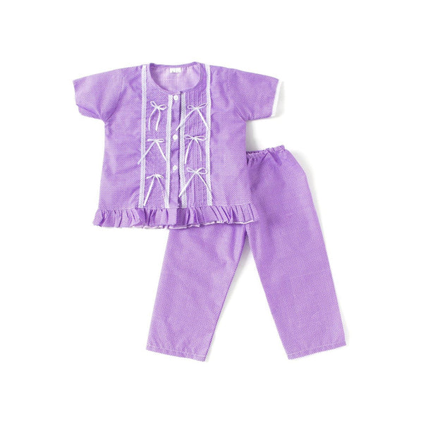 Bownbee Cotton Night Suit For Girls - Purple
