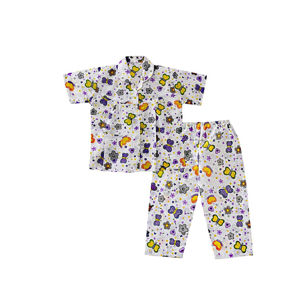 Bownbee Butterfly Print Night Suit - Purple
