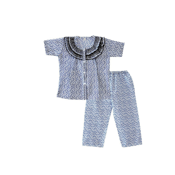 Bownbee Frilly Printed Night Suit - Blue