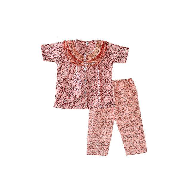 Bownbee Frilly Printed Night Suit - Orange