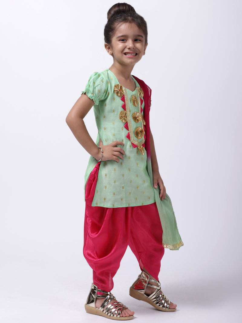 Chanderi Round Neck Kurti With Dhoti For Baby Girl-Green