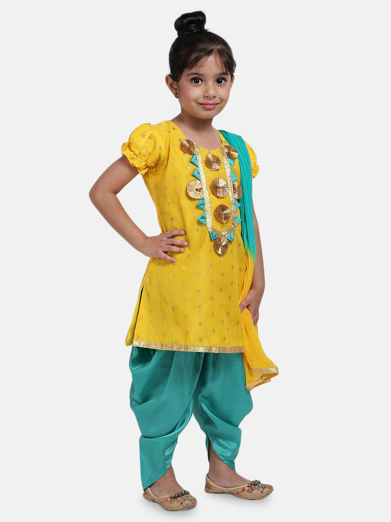 Chanderi Round Neck Kurti With Dhoti For Baby Girl- Yellow