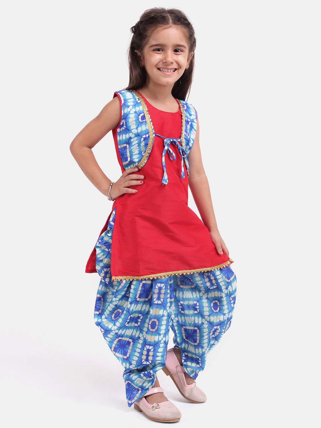 Attached Jacket Kurti Dhoti For Baby Girls- Blue