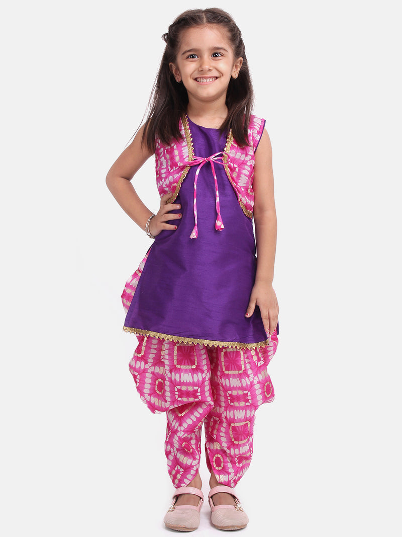 Attached Jacket Kurti Dhoti For Baby Girls- Pink