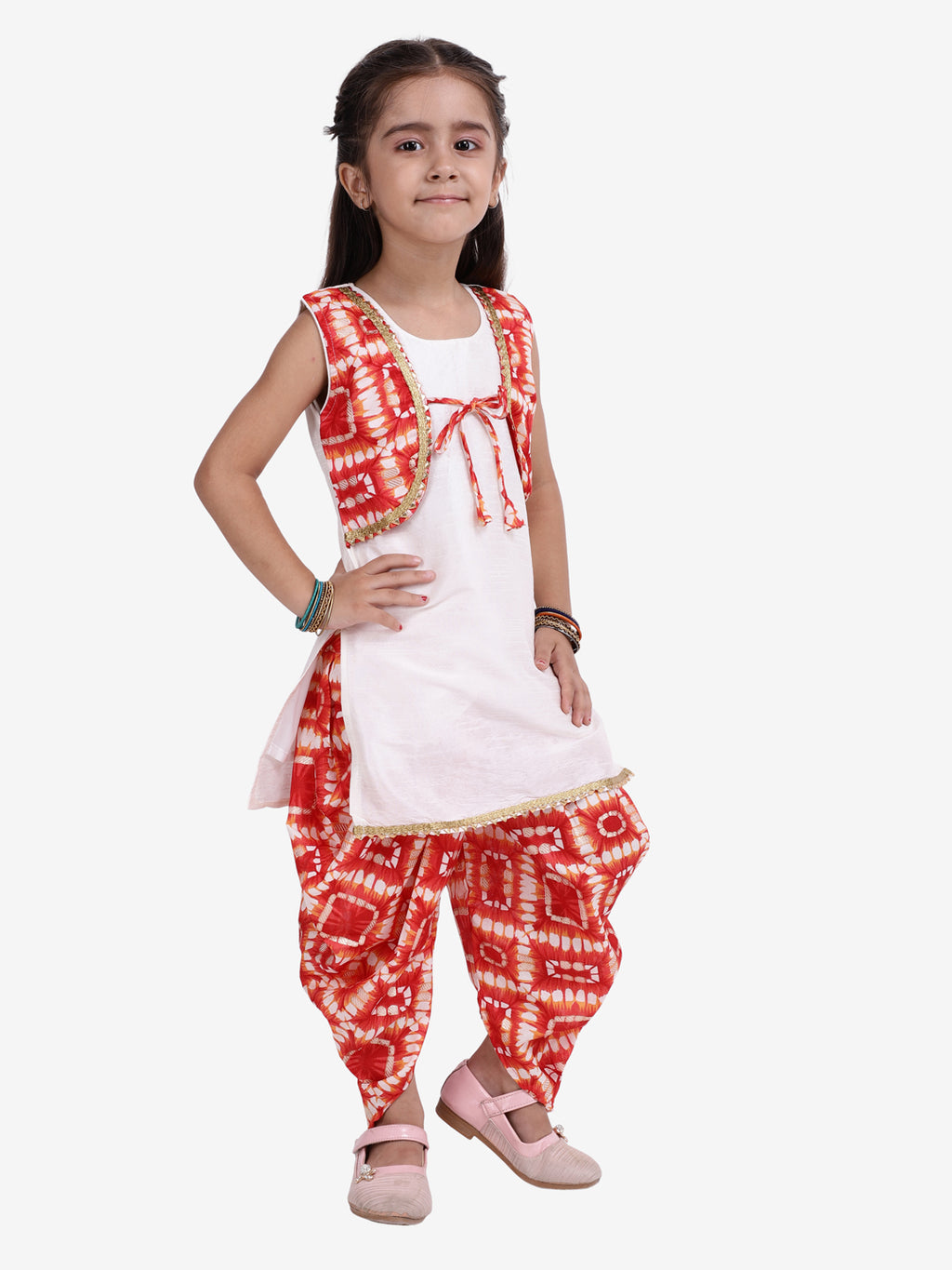 Attached Jacket Kurti Dhoti For Baby Girls- Red