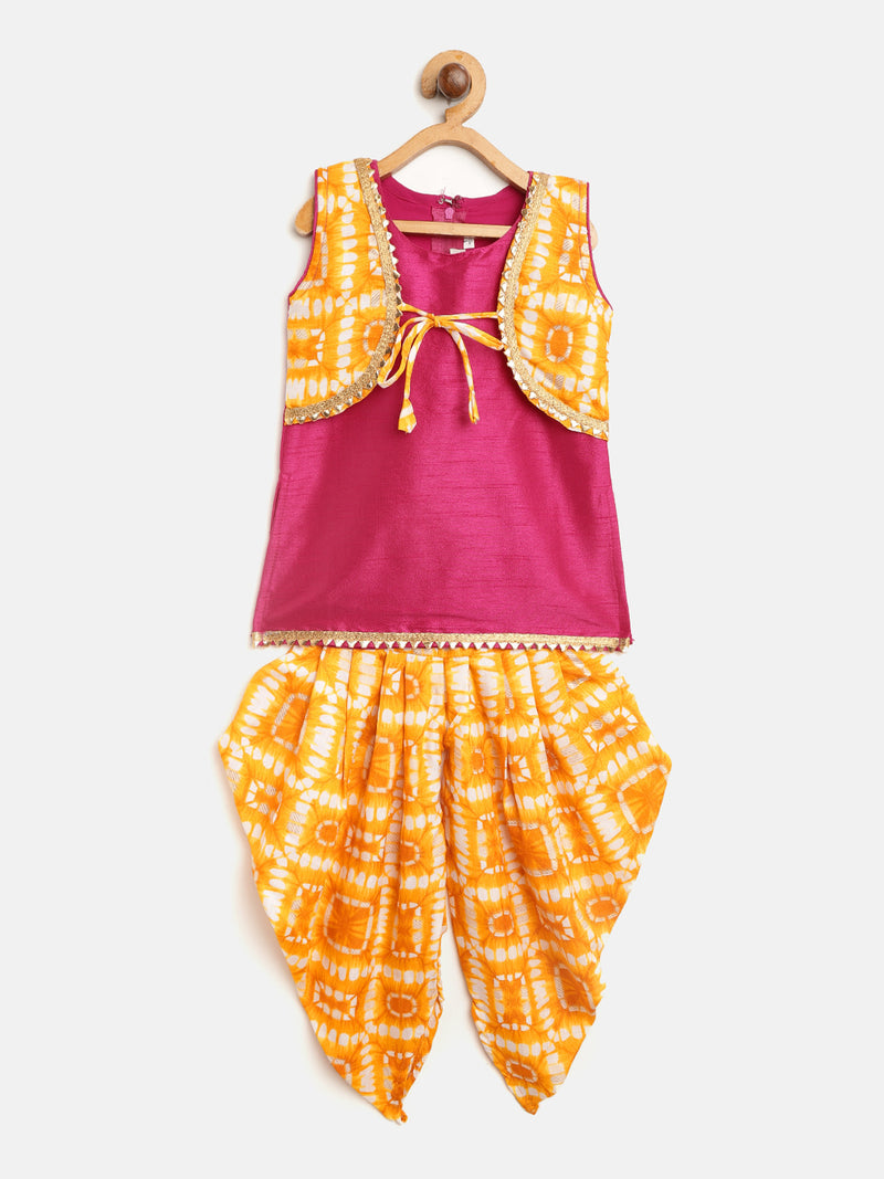 Attached Jacket Kurti Dhoti For Baby Girls- Yellow