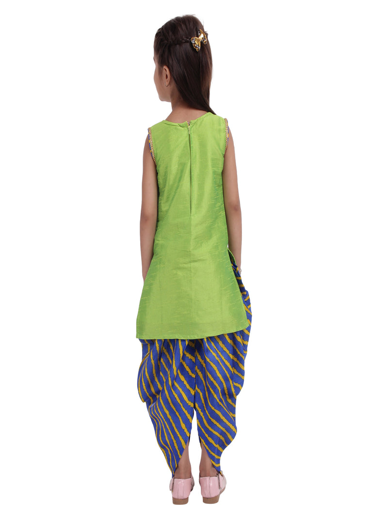 Flower Embroidered Sleeveless Kurta With Leheriya Print Dhoti & Dupatta -Green