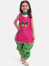 Flower Embroidered Sleeveless Kurta With Leheriya Print Dhoti & Dupatta -Pink