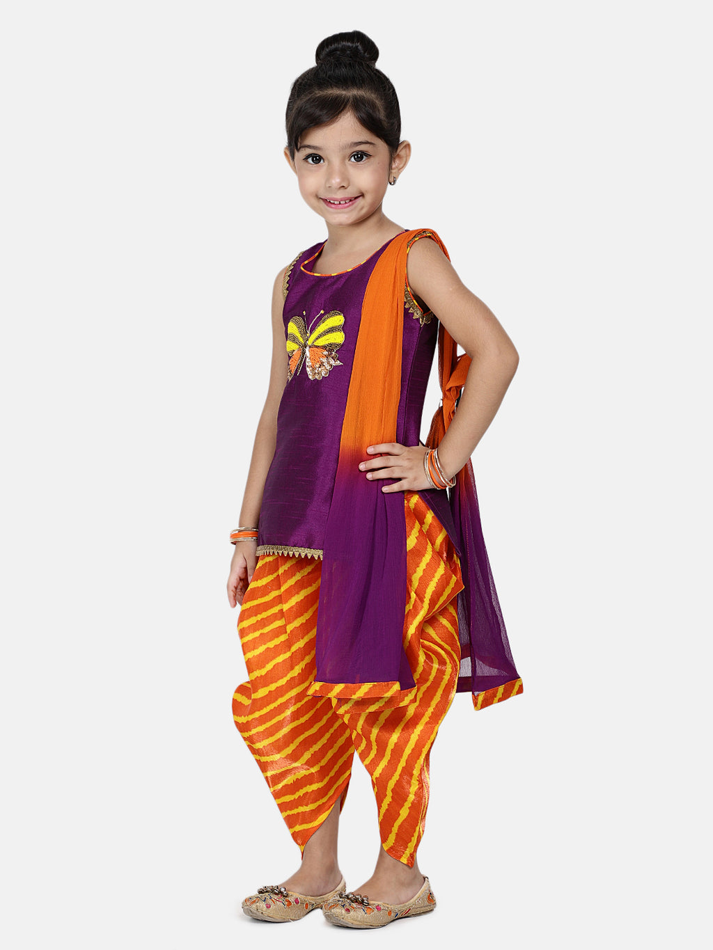 Flower Embroidered Sleeveless Kurta With Leheriya Print Dhoti & Dupatta -Purple