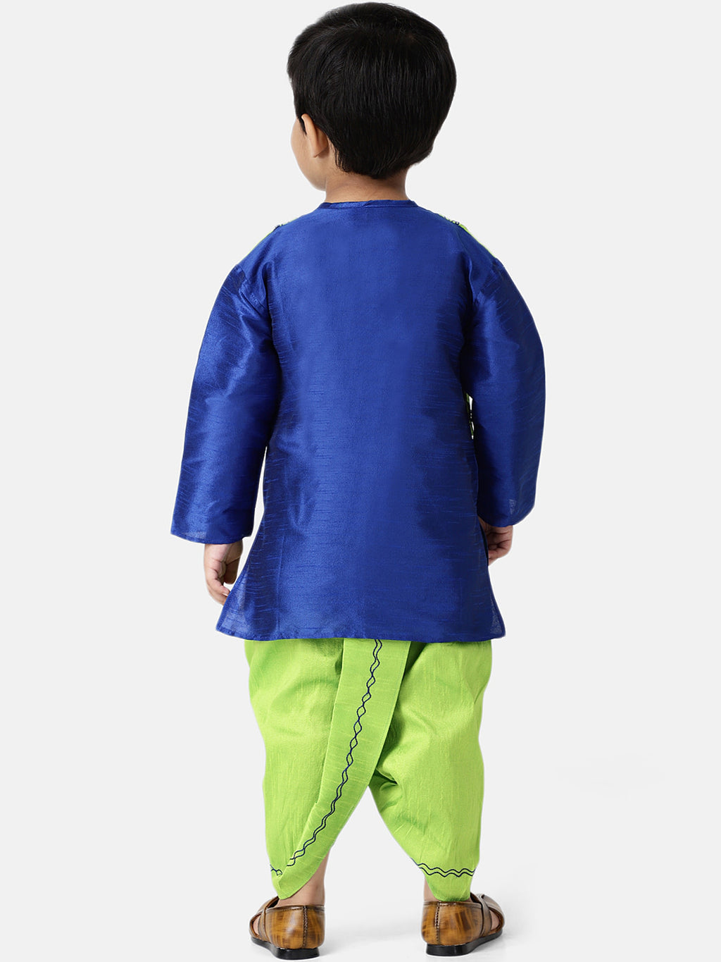 Attached Jacket Dhoti Kurta For Boys-Blue