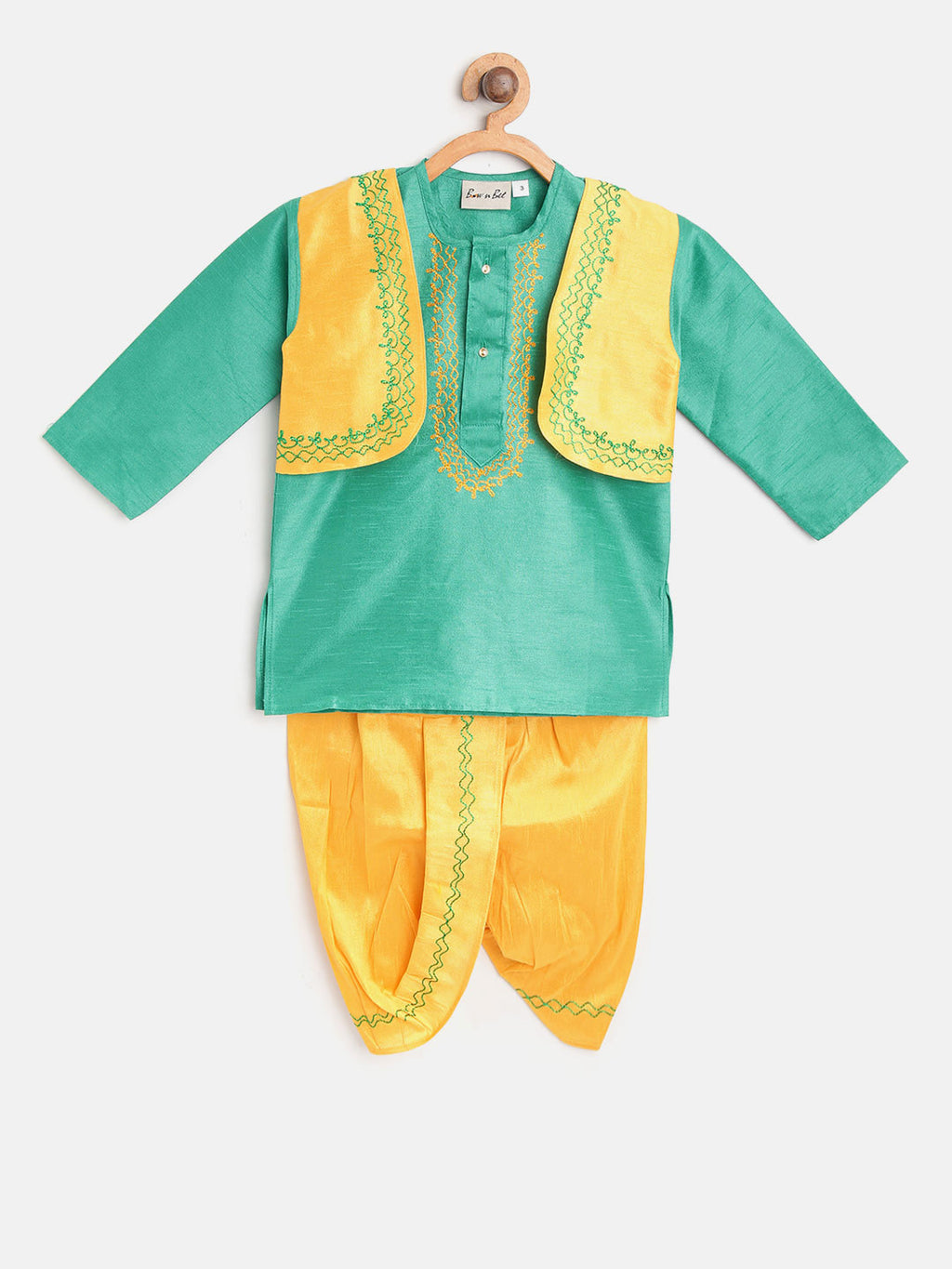 Attached Jacket Dhoti Kurta For Boys-Green