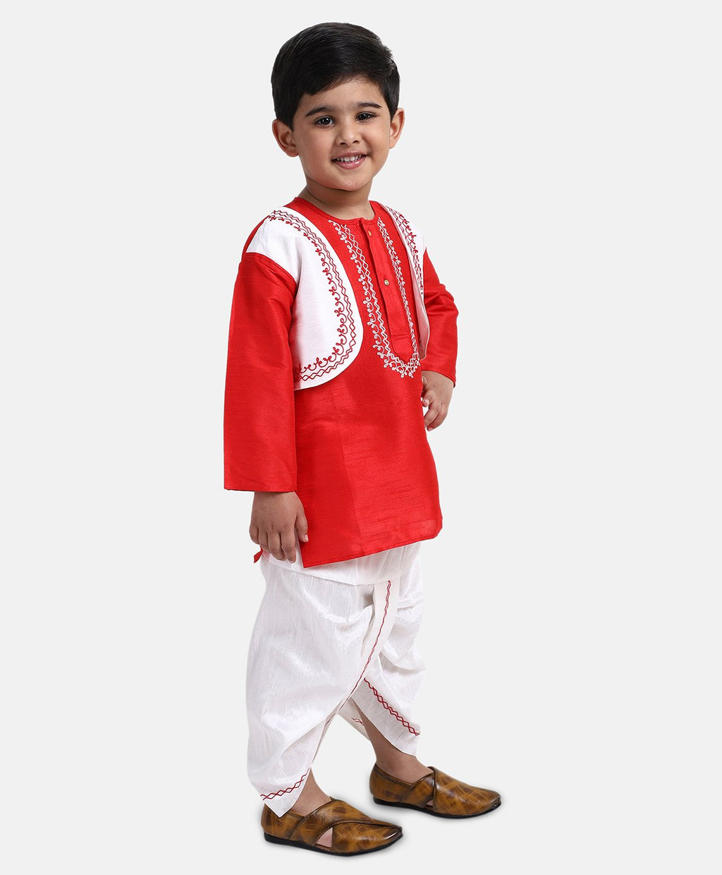 Attached Jacket Dhoti Kurta For Boys-Red
