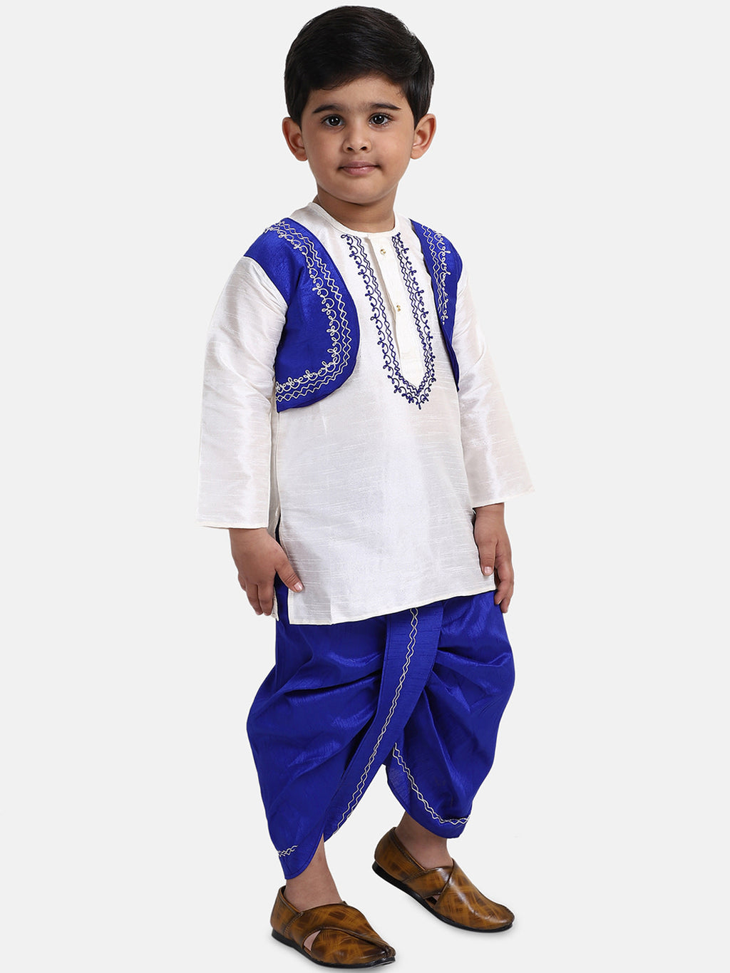Attached Jacket Dhoti Kurta For Boys-White Blue