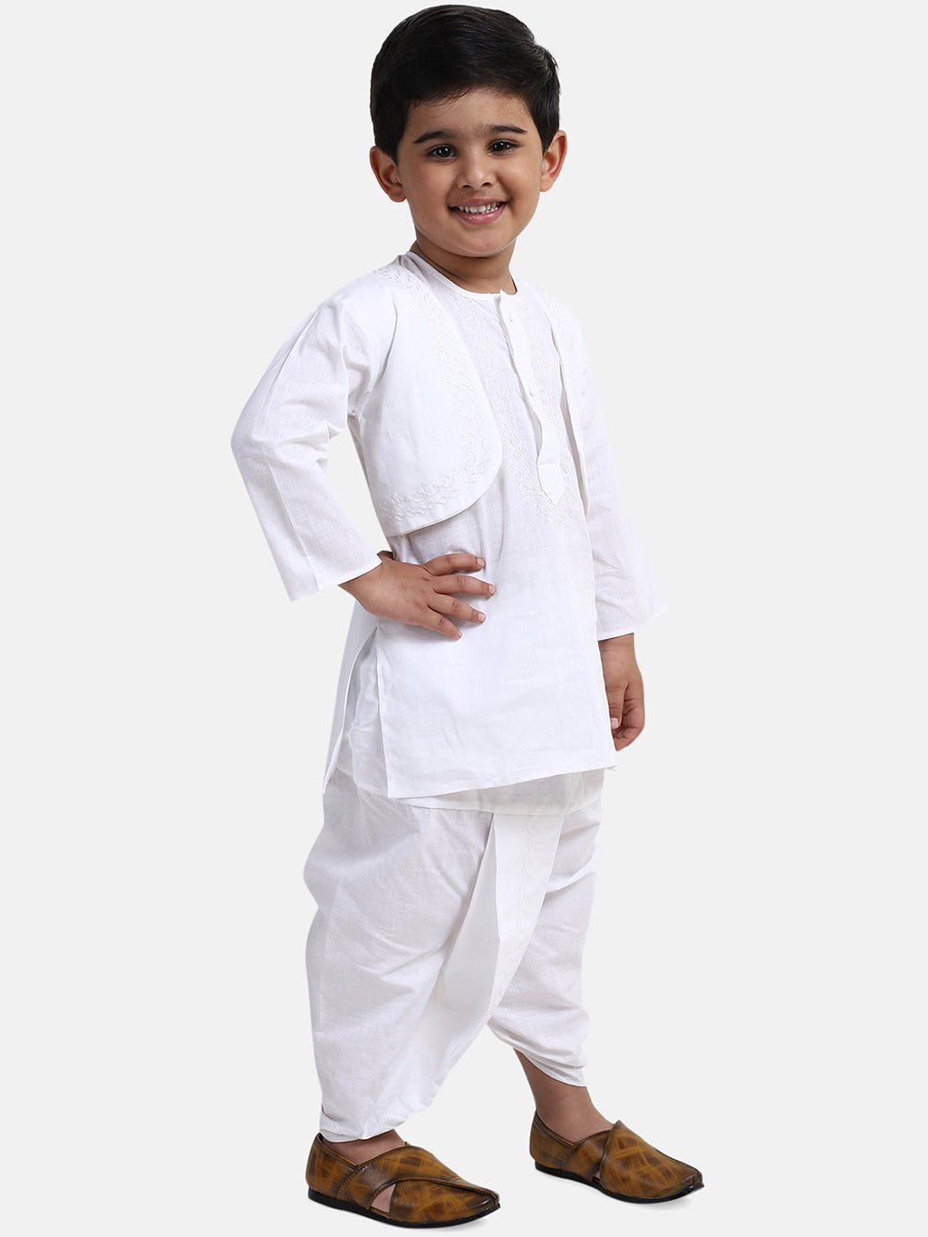 Attached Jacket Dhoti Kurta For Boys-White